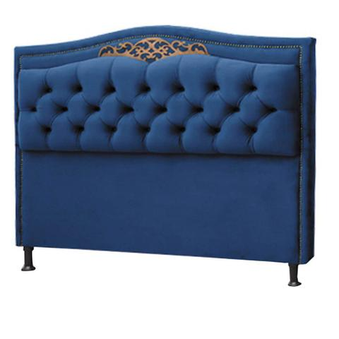 Imagem de Conjunto Cabeceira Estofado Yasmim + Recamier Bau Yasmim 195 Cm Para Cama King Size Quarto Suede Azul marinho  - Amarena