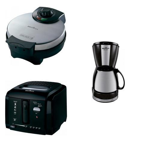 Imagem de Conjunto Cafeteira, Máquina de Cupcake e Fritadeira 127V Britânia Preto