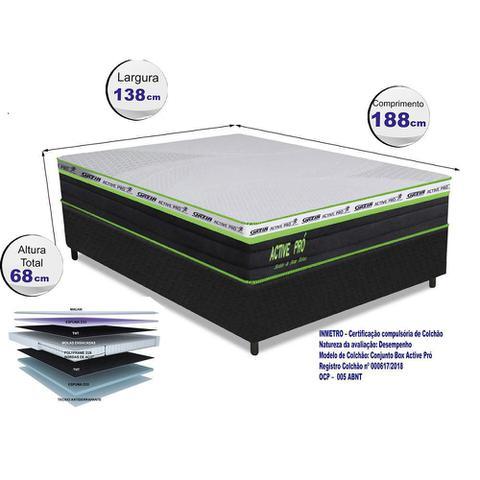 Imagem de Conjunto Cama Box (Colchão + Box) Gazin Mola Active Pró (Molas Ensacada) Preto 138x188x68