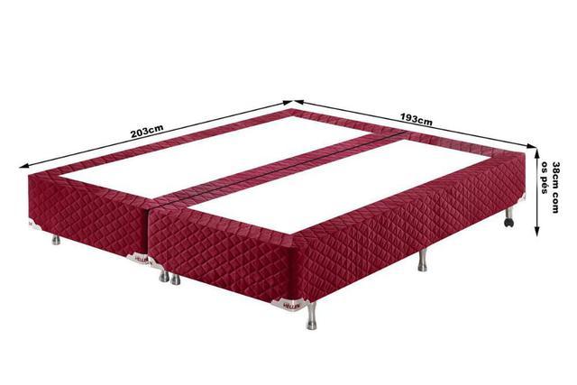 Imagem de Conjunto Cama Box King Red Seduction Molas Ensacadas 193x203x74 Colchão + Cama Box