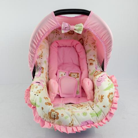 Imagem de Conjunto Capa Para Bebê Conforto Safari Rosa Novo Com Acolchoado Extra