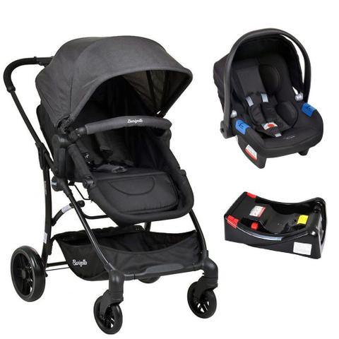 Imagem de Conjunto Carrinho Convert Dark Gray + Bebê Conforto Touring X Preto + Base Cadeira Burigotto
