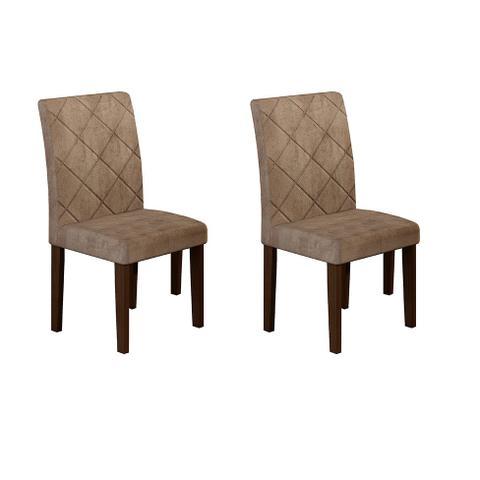 Imagem de Conjunto com 2 Cadeiras de Jantar Ane Suede Animalle Castor