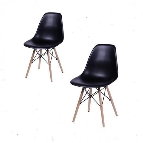 Imagem de Conjunto com 2 Cadeiras Dkr Eames Polipropileno Base Eiffel Madeira Preta