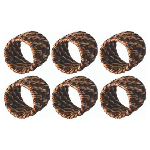 Imagem de Conjunto com 6 Anéis Para Guardanapo em Rattan e Bambu Rústico Marrom Grande 4 X 4 CM