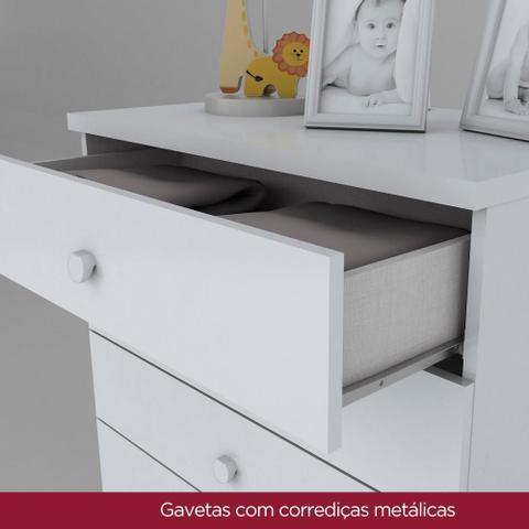 Imagem de Conjunto com Guarda-roupa 3 Portas e Cômoda 5 Gavetas Bala de Menta Henn - Branco