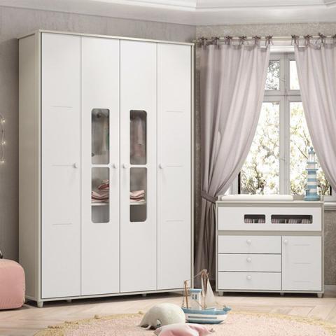 Imagem de Conjunto com Guarda-roupa Infantil e Cômoda Aquarela Henn - Cristal/Branco