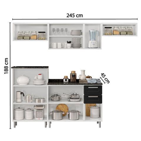Imagem de Conjunto Cozinha com 2 Balcões, 2 Armários Áereos e Nicho Compacta Bertolini Branco/Preto