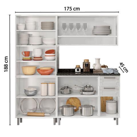 Imagem de Conjunto Cozinha com 2 Balcões e 2 Armários Áereos Compacta Bertolini Branco