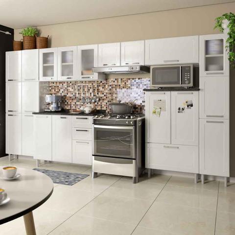 Imagem de Conjunto Cozinha Completa com Paneleiro, Armário Triplo, Armário de Geladeira e Balcão Multipla Bertolini