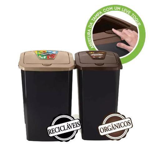 Imagem de Conjunto de 2 Lixeira Coleta Seletiva Reciclagem Orgânicos 40 E 30 litros