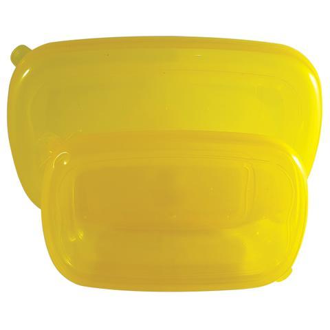 Imagem de Conjunto de 2 Potes Herméticos Retangular Freezer Microondas Amarelo