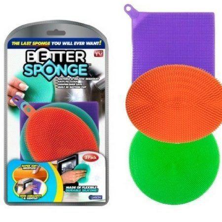 Imagem de Conjunto de 3 Esponjas para Lavar Louças em Silicone - Colorida