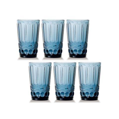 Imagem de Conjunto de 6 Copos de Água Elegance - Azul 330ml