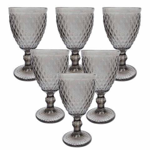 Imagem de Conjunto de 6 Taças em Vidro Fume Bico de Abacaxi 300 ml - Casambiente