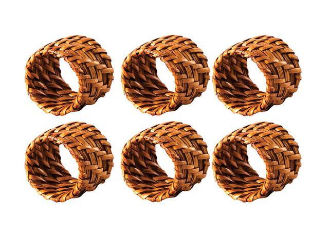 Imagem de Conjunto de Anéis para Guardanapos 6 Peças Rattan Mundiart - GZT 063