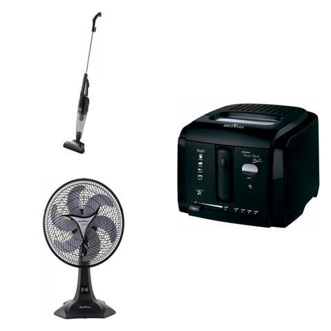 Imagem de Conjunto de Aspirador de Pó, Fritadeira Elétrica e Ventilador 127V MadeiraMadeira 416815 Preto