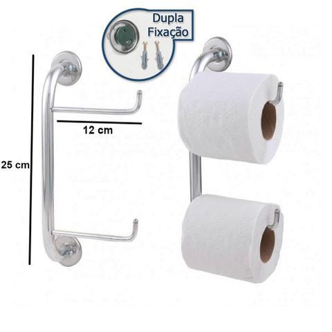 Imagem de Conjunto de Banheiro Inox Com Suporte Duplo Para Papel Higiênico Linha Stander