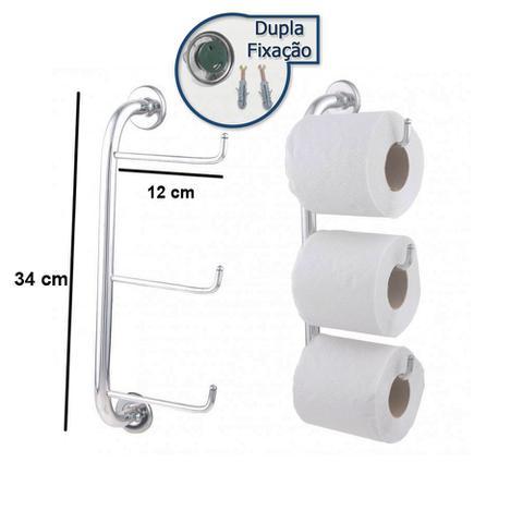 Imagem de Conjunto de Banheiro Inox Com Suporte Triplo Para Papel Higiênico Linha Stander