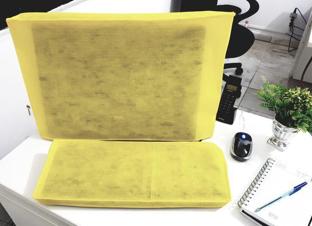 Imagem de Conjunto de Capas para Teclado e Monitor 19 , 20 e 21 Polegadas na cor Amarela em TNT
