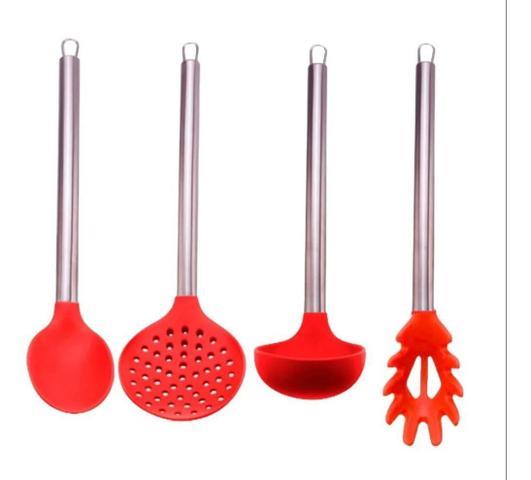 Imagem de Conjunto De Colheres Concha Inox Silicone Utensílios Cozinha Vermelho