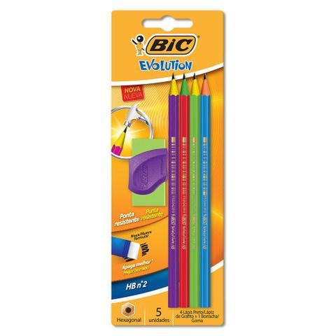 Imagem de Conjunto de Lápis de Escrever com Borracha - Preto - Hexagonal - Evolution Colors - BIC