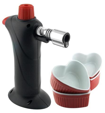 Imagem de Conjunto de Macarico e Bowl Creme Brulee 5 Pecas Preto e Vermelho