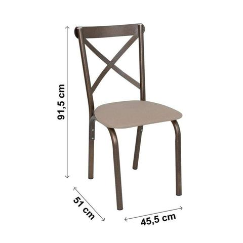Imagem de Conjunto de Mesa 4 Cadeiras Karina Ciplafe Bronze/Linho Bege