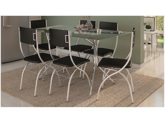 Imagem de Conjunto de Mesa Aço Cromado com 6 Cadeiras