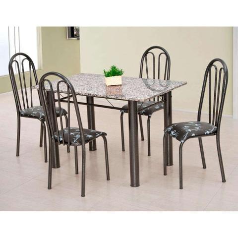 Imagem de Conjunto de Mesa Carla com 4 Cadeiras Craqueado Preto Flor