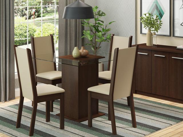 Imagem de Conjunto de Mesa com 4 Cadeiras Estofadas Madesa