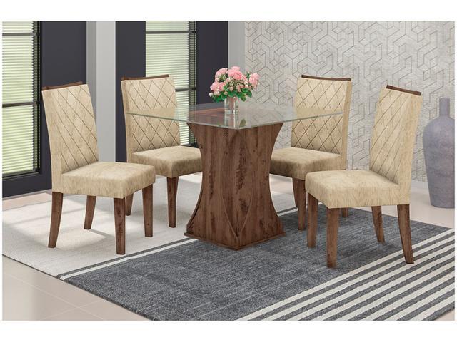 Imagem de Conjunto de Mesa com 4 Cadeiras Estofadas