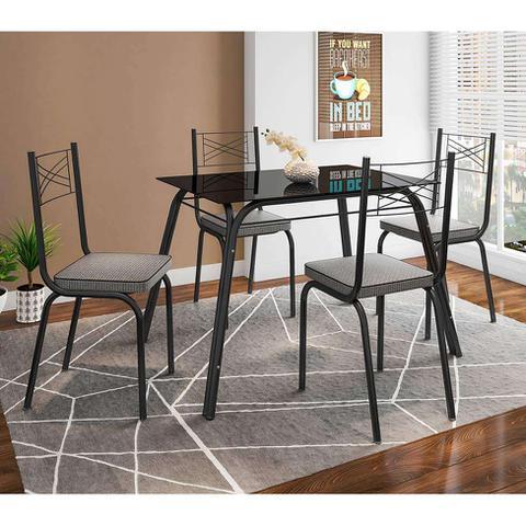 Imagem de Conjunto de Mesa com 4 Cadeiras Lotus I Preto Fosco com Platina