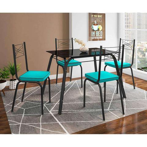 Imagem de Conjunto de Mesa com 4 Cadeiras Lotus Preto Fosco com Azul