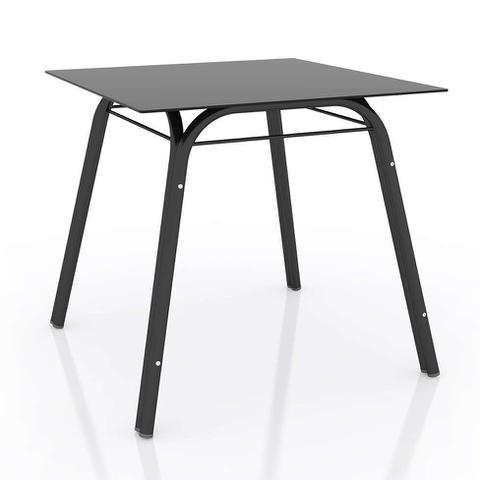 Imagem de Conjunto de Mesa com 4 Cadeiras Lotus Preto Fosco com Platina
