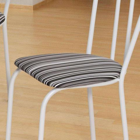 Imagem de Conjunto de Mesa com 4 Cadeiras Thais Branco, Listrado Branco e Preto