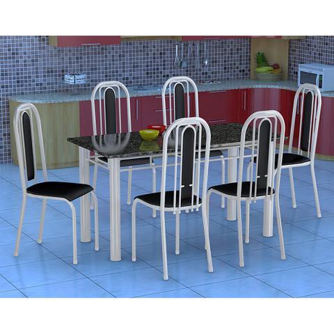 Imagem de Conjunto de Mesa com 6 Cadeiras Granada Branco e Preto Liso