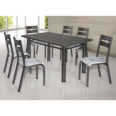 Imagem de Conjunto de Mesa com 6 Cadeiras Luna Clássica Ciplafe Craqueado Preto/Riscado Branco