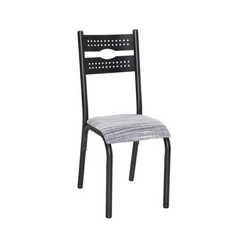 Imagem de Conjunto de Mesa com 6 Cadeiras Luna Clássica Ciplafe Preto/Riscado Branco