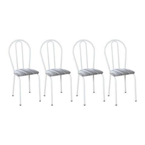 Imagem de Conjunto de Mesa Granito Artefamol Thais Base 3009 Branco Com 4 Cadeiras 004 Linho