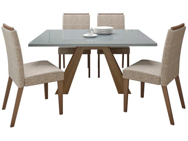 Imagem de Conjunto de Mesa Madeira com 4 Cadeiras Estofadas