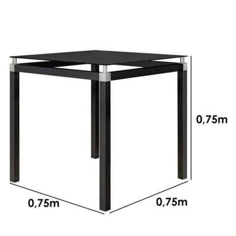 Imagem de Conjunto De Mesa Malva 75 cm Vidro Preto E 4 Cadeiras 118 Preto Artefamol