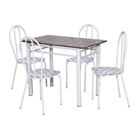 Imagem de Conjunto de Mesa Monique com 4 Cadeiras Branca Capitonê