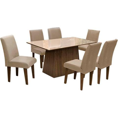 Imagem de Conjunto de Mesa Para Sala de Jantar C/ Tampo de Vidro e 6 CadeirasFlorença  Dobuê