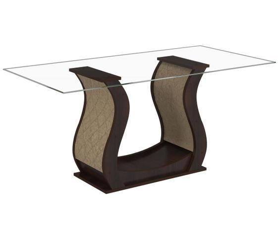 Imagem de Conjunto De Mesa Para Sala De Jantar Detalhes Com Vidro 6 Cadeiras Nogueira/Gold