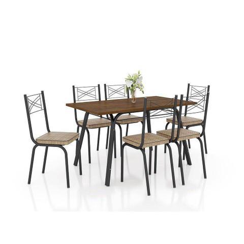 Imagem de Conjunto De Mesa Tampo BP 1,36 com 6 Cadeiras Lotus 119 Rattan Preto - Artefamol