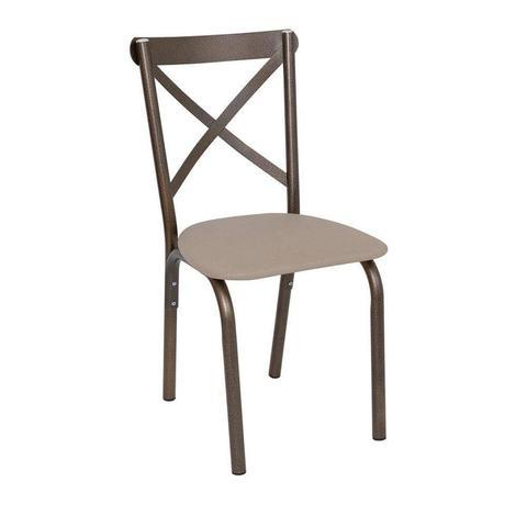 Imagem de Conjunto de Mesa Tampo em Vidro com 4 Cadeiras Karina Ciplafe Bronze/Linho Bege