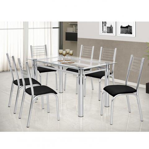 Imagem de Conjunto de Mesa Tampo Vidro 140cmx80cm 6 Cadeiras Cromadas Camila Premium Ciplafe Cromado/Preto