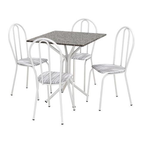 Imagem de Conjunto de Mesa Thais com 4 Cadeiras Branca Linho