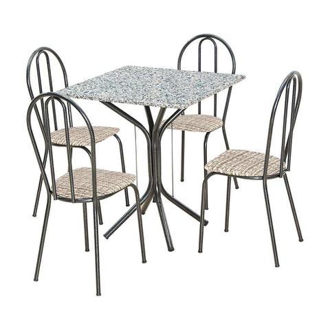 Imagem de Conjunto de Mesa Thais com 4 Cadeiras Craqueado Preto Rattan